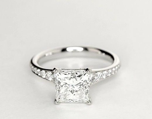 Hochzeit - 2.10 CT Princess Cut E/VVS1 Engagement Rings 925 Solid Sterling Silver Jewelry