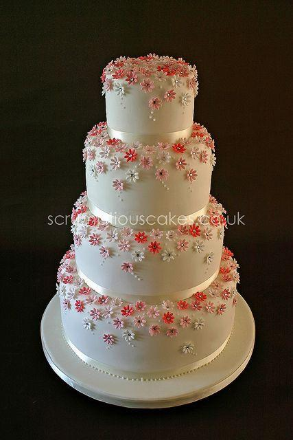 Mariage - Wedding Cake (615) - Pink Daisies & Diamantes