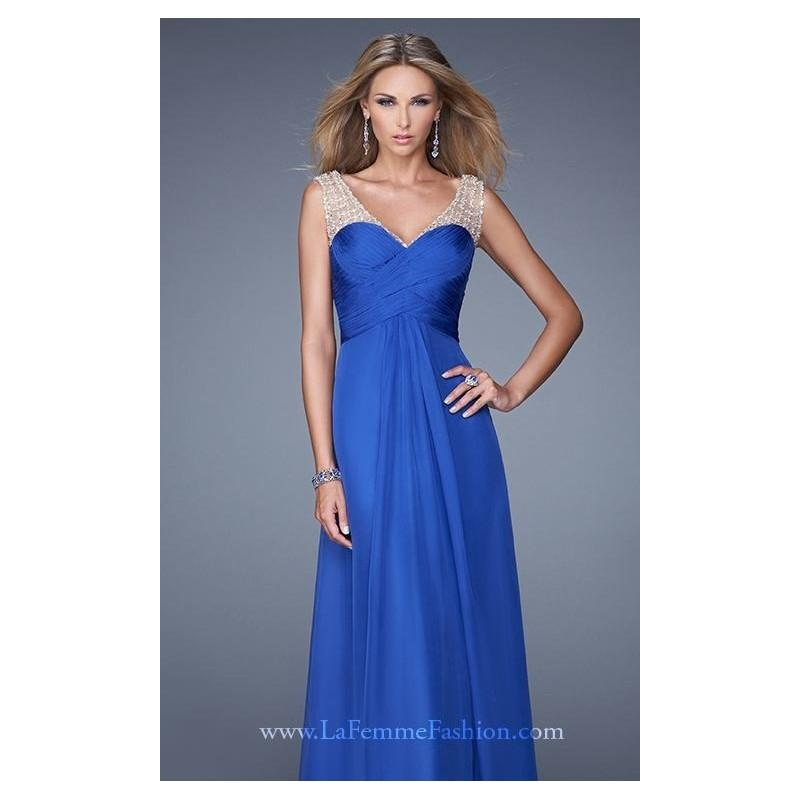 Mariage - Royal Blue Beaded Ruched Gown by La Femme - Color Your Classy Wardrobe