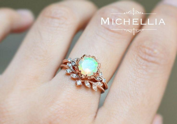 Düğün - Vintage Opal Floral Engagement Ring With Diamond, Solid Gold Ethiopian Fire Opal Ring Set, Opal Promise Ring, Rose Gold Yellow White Gold