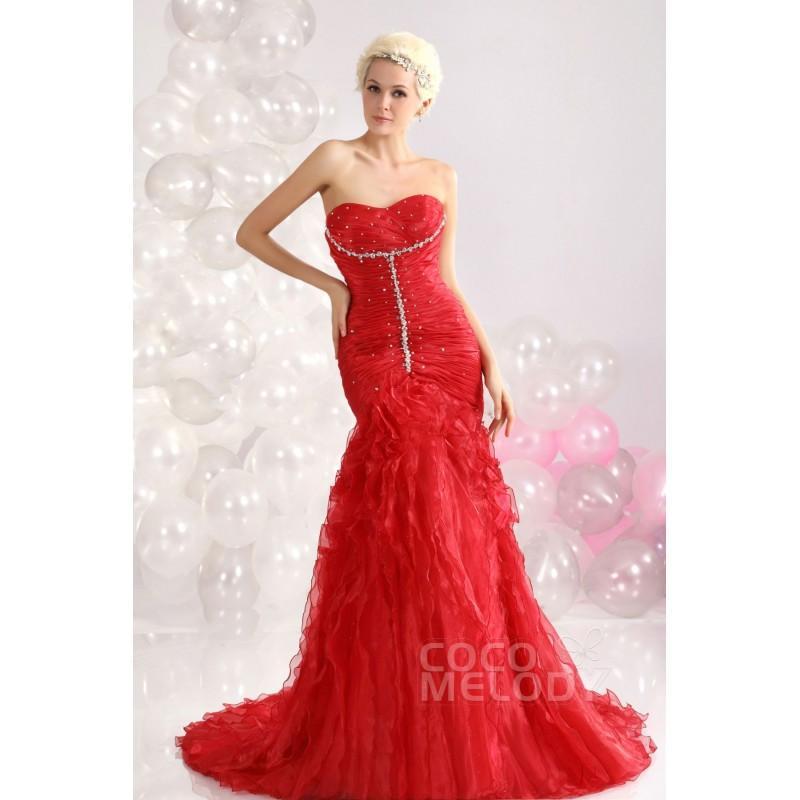 Chic Trumpet-Mermaid Sweetheart Court Train Organza Evening Dress ...