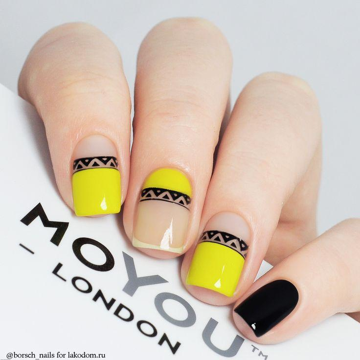 Boda - Black & Yellow Nail Art