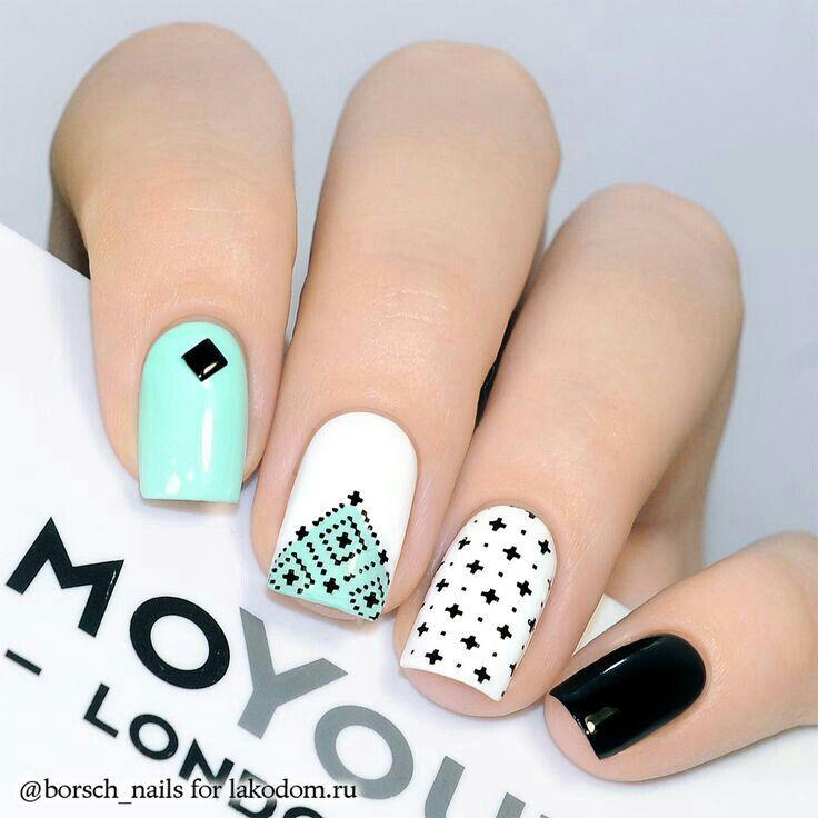 Wedding - Turquoise, White and Black Nails