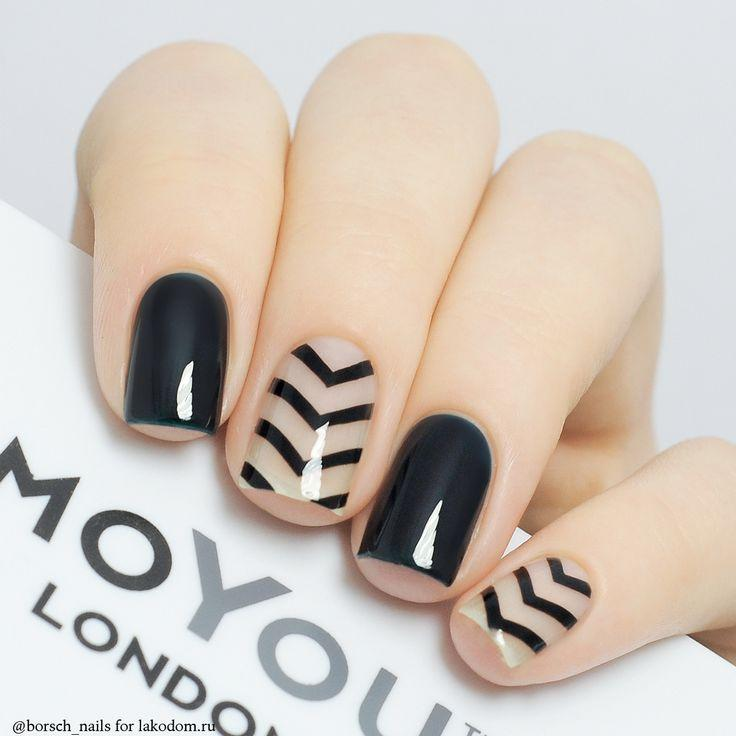 Hochzeit - Black and Clear Nail Art