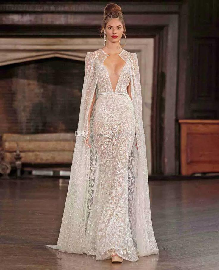Real photo sexy wedding dresses with cape 2017 berta for Wedding dress with cape train