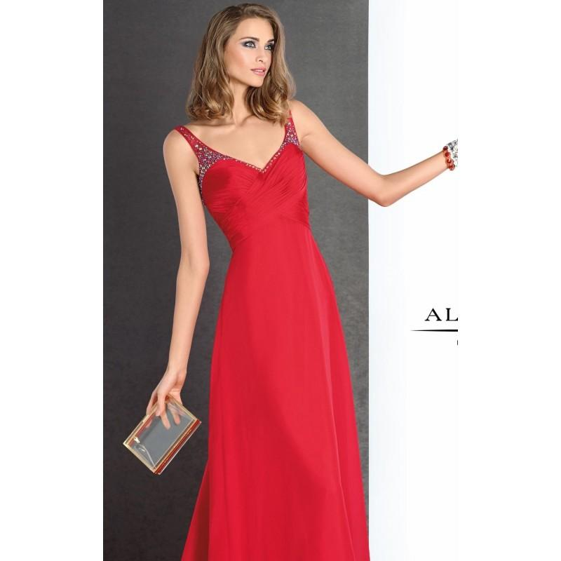 Wedding - Watermelon Ruched V-Neck Gown by Alyce BDazzle - Color Your Classy Wardrobe
