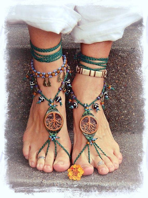 Wedding - Tribal TREE BAREFOOT SANDALS Forest Fairy Artisan Sandals Tree Hugger Foot Jewelry Bohemian Shoes Tribal Wedding Yggdrasil Naturalist