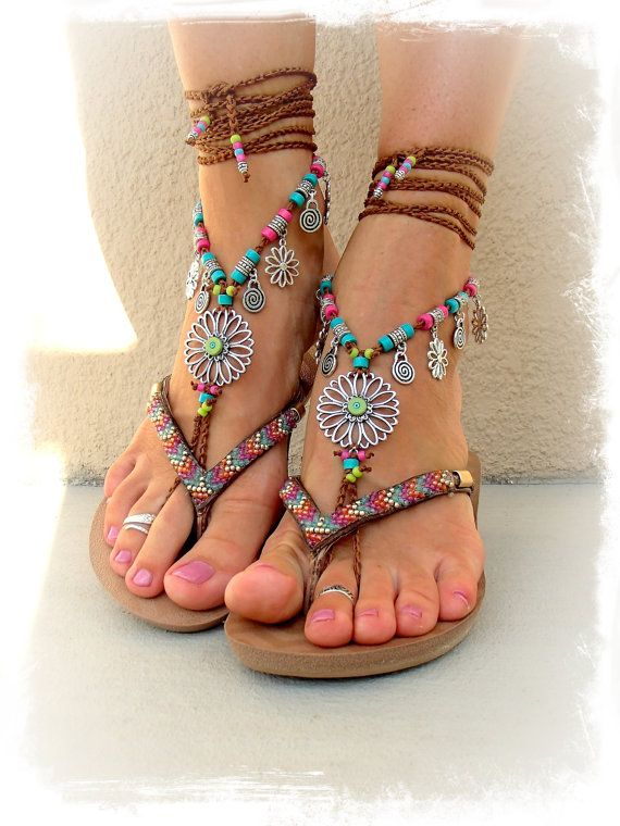 Wedding - For Sara. SUNFLOWER BAREFOOT Sandals Hippie FESTIVAL Wrap Sandal Toe Thongs Bare Feet Statement Foot Accessory Crochet Foot Jewelry GPyoga