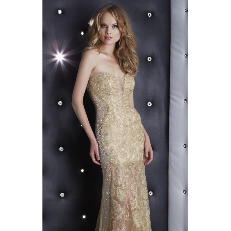 زفاف - Gold Strapless Beaded Lace Gown by Jasz Couture - Color Your Classy Wardrobe