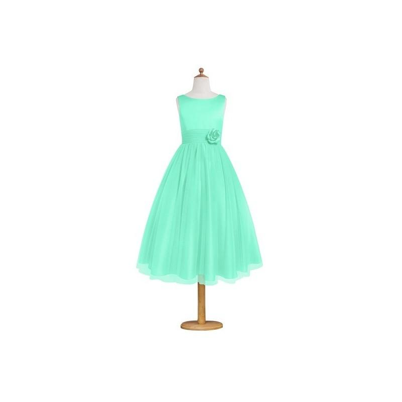 Hochzeit - Turquoise Azazie Rudy JBD - Back Zip Satin And Tulle Tea Length Boatneck Dress - Cheap Gorgeous Bridesmaids Store