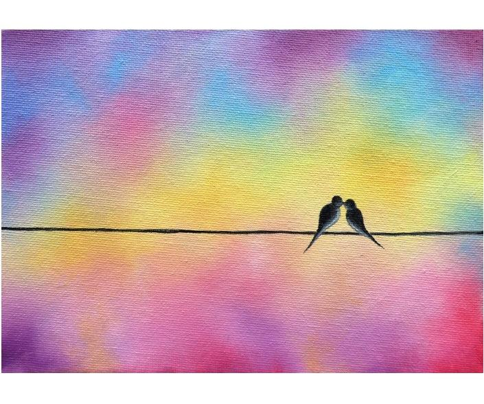 Mariage - Birds on a Wire Art, Little Love Birds, Whimsical Art Bird Painting, Romantic Gift, Minimalist Art ORIGINAL Oil Painting, Small Canvas, 5x7