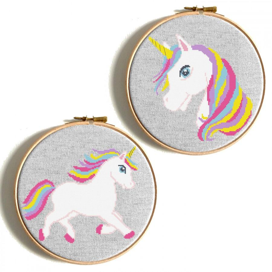 Düğün - Unicorn cross stitch pattern Animal cross stitch Baby cross stitch Rainbow cross stitch Nursery modern decor Horse embroidery DIY birthday