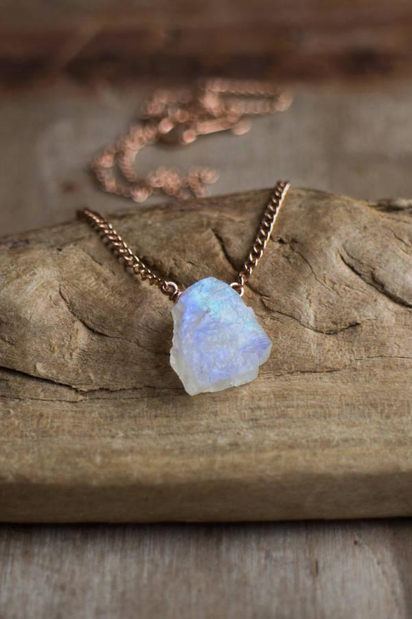 Mariage - Raw Moonstone Necklace, June Birthstone, Raw Crystal Necklace in Rose Gold Filled, Gold or Silver, Rainbow Moonstone Jewellery