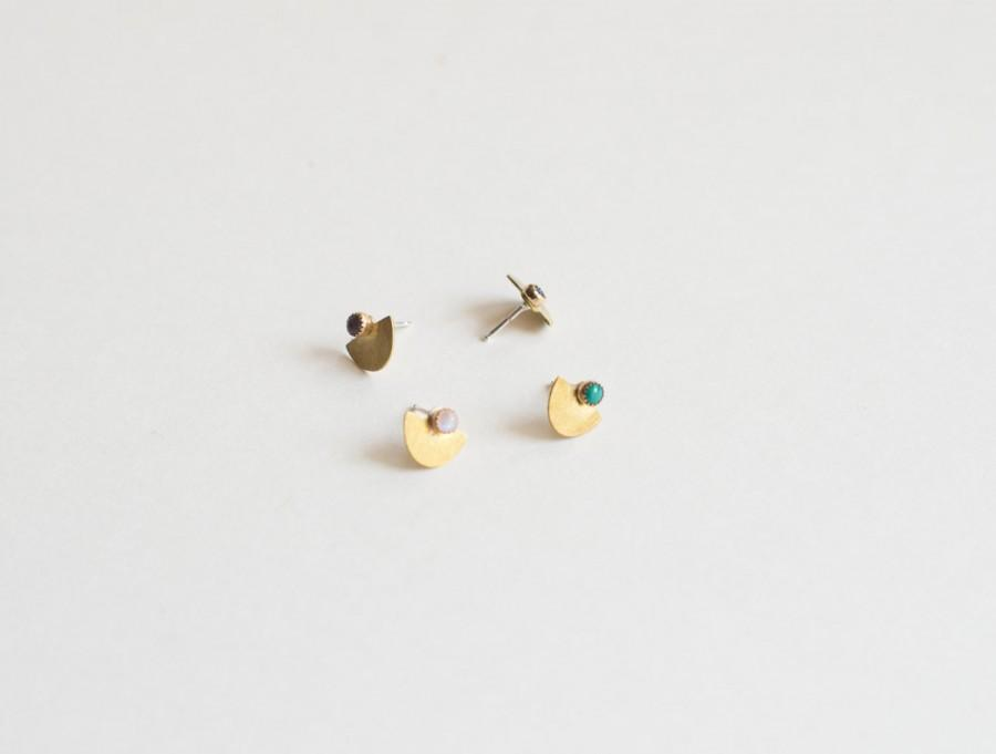 Wedding - Suma Small Studs - Half Circle, Moon Stone Earrings