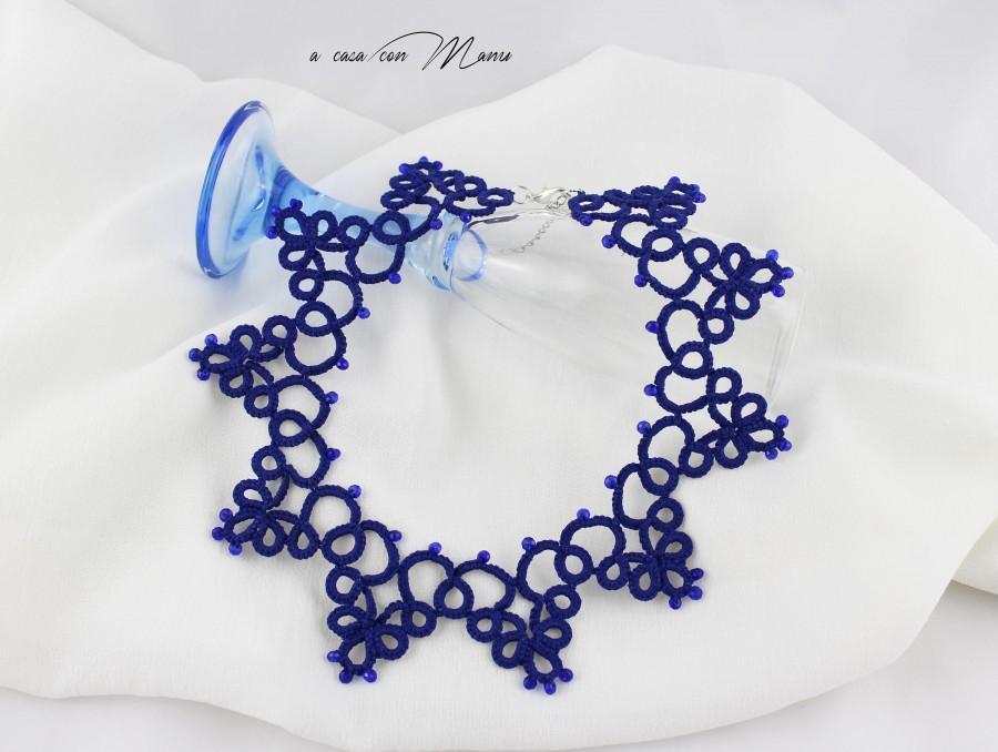 Mariage - Collana blu pizzo chiacchierino, collana colletto blu girocollo da sera, girocollo elegante da donna,  gioielli di boho, edwardian gioielli