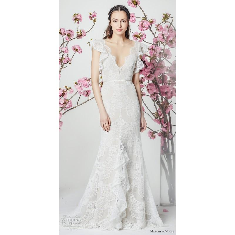 Wedding - Marchesa Notte Spring/Summer 2018 Elegant Trumpet V-Neck Lace Beach Ivory Bridal Gown Trumpet Elegant Lace Beach Bridal Gown - Branded Bridal Gowns
