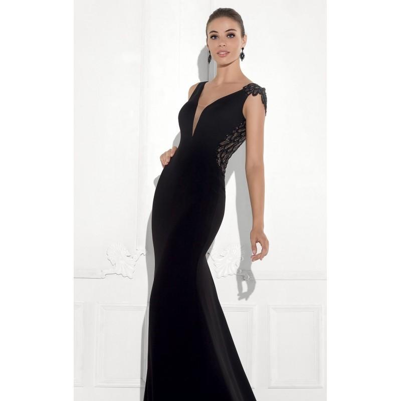 Wedding - Black Asymmetrical Beaded Gown by Tarik Ediz - Color Your Classy Wardrobe