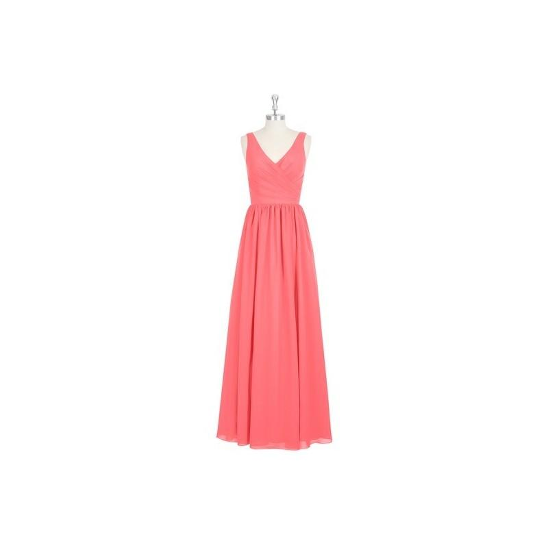 Mariage - Watermelon Azazie Keyla - V Back V Neck Floor Length Chiffon Dress - Cheap Gorgeous Bridesmaids Store