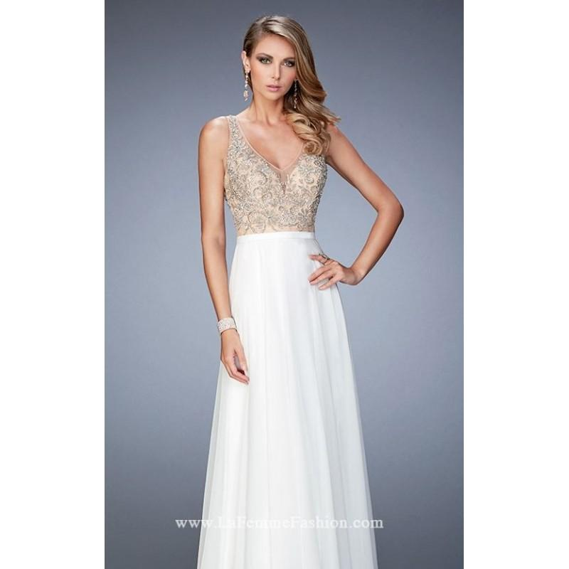 Mariage - White Beaded Chiffon Gown by La Femme - Color Your Classy Wardrobe