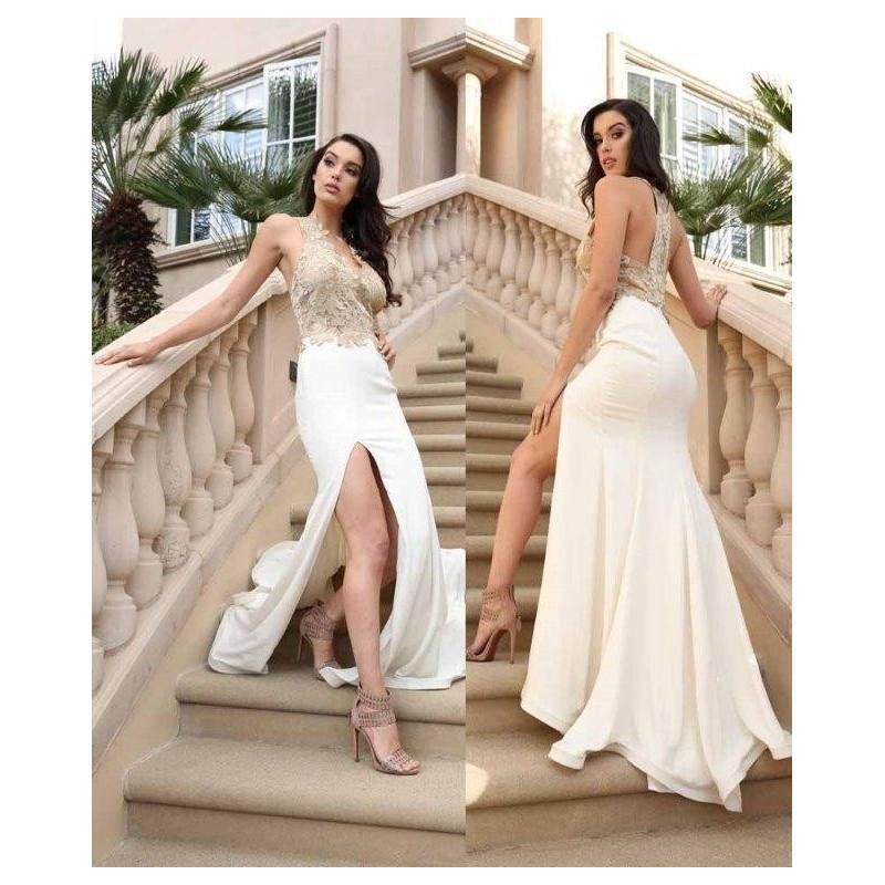 Wedding - Nicole Bakti 6722 Gold/Ivory,Gold/Black Dress - The Unique Prom Store