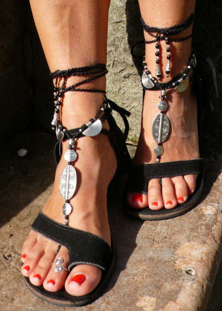 Wedding - Black ETHNIC BAREFOOT SANDALS Foot Jewelry Hippie Sandals Toe Ring Anklet Crochet Barefoot Tribal Sandals Slave Bracelet Yogawedding