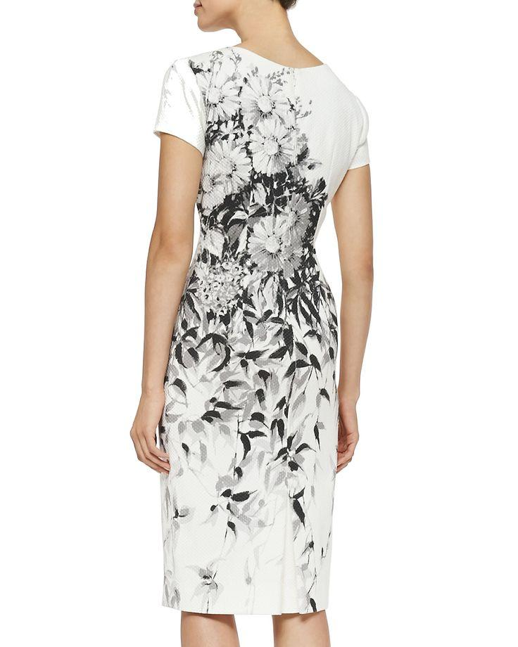 Wedding - Floral Pique Cotton Sheath Dress