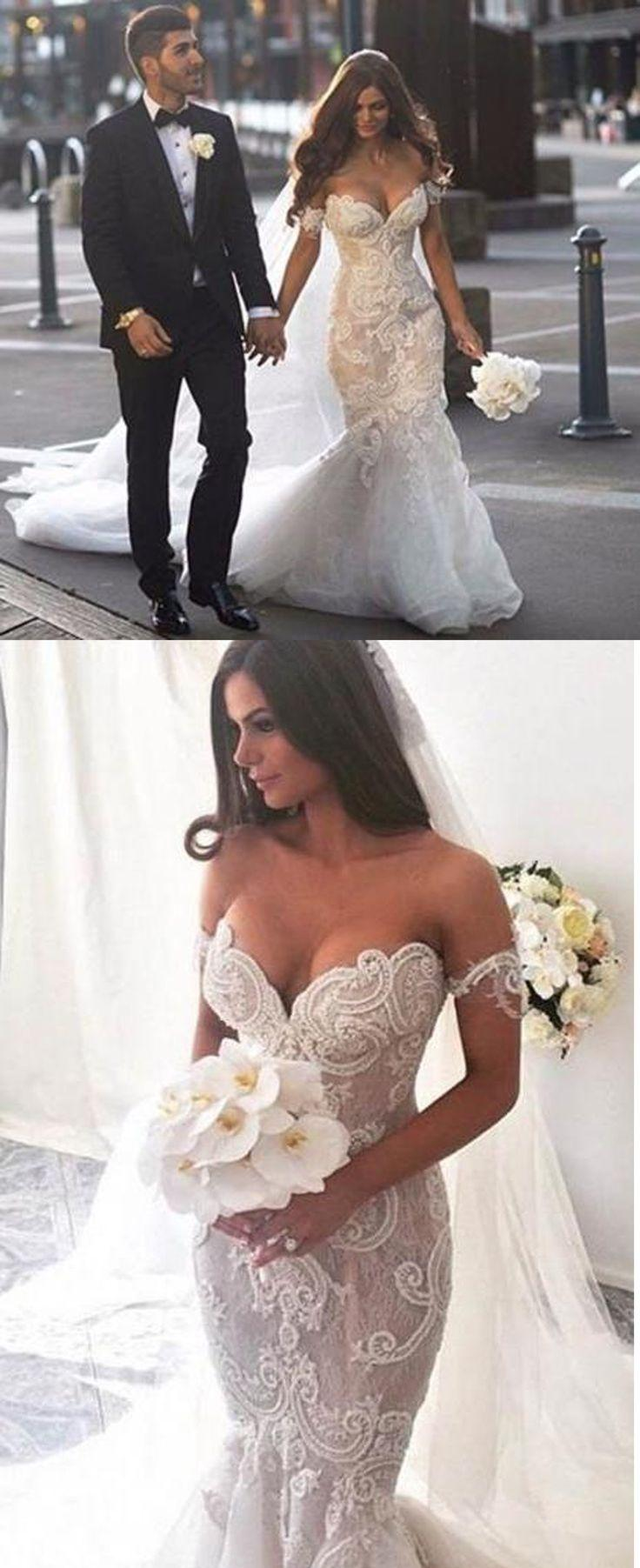 Wedding - White Wedding Dress, Lace Mermaid W