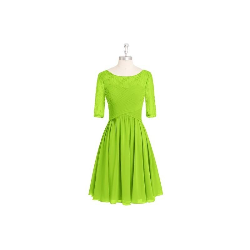 Hochzeit - Lime_green Azazie Hattie - Knee Length Boatneck Chiffon And Lace Back Zip Dress - Charming Bridesmaids Store