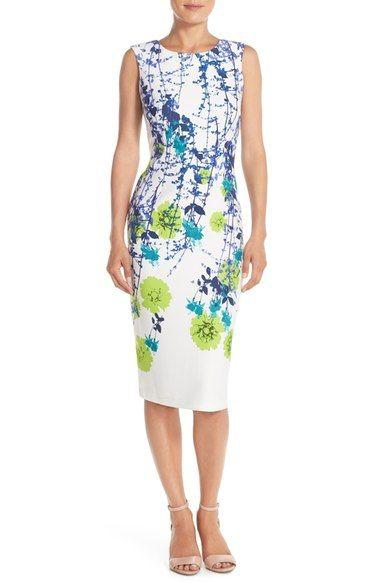 Mariage - Gabby Skye Floral Print Scuba Sheath Dress