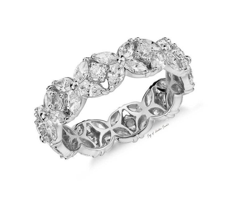 Boda - The Princess, A Perfect 8.1TCW Marquise And Round Cut Russian Lab Diamond Wedding Band Eternity Ring