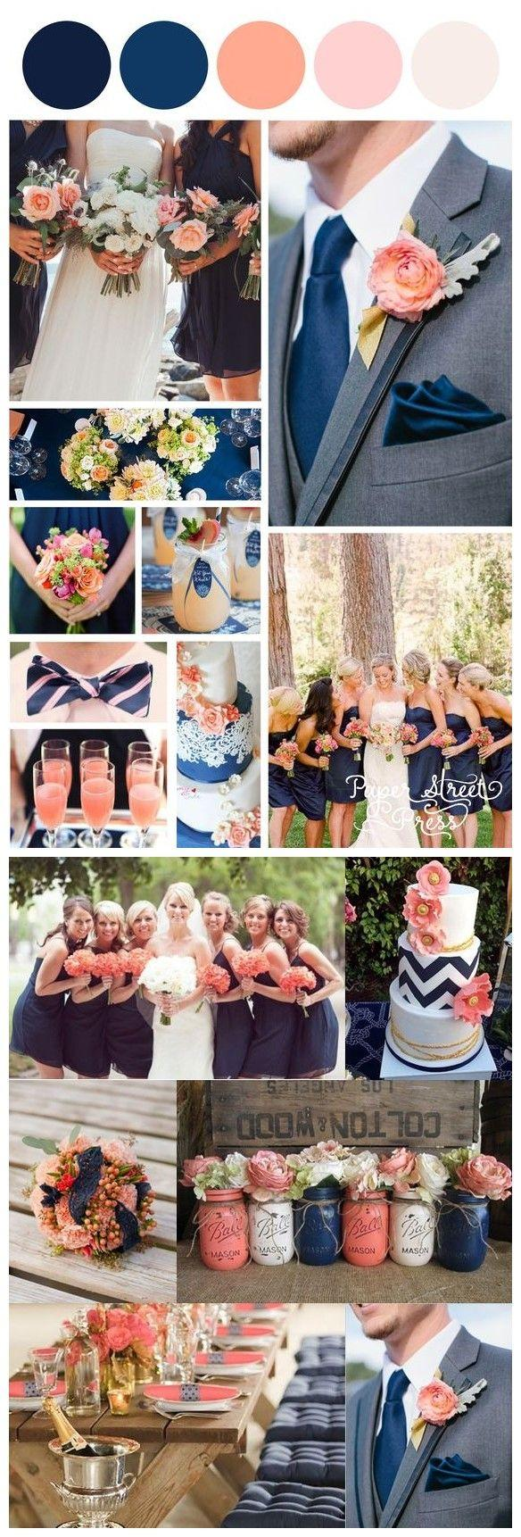 Hochzeit - 18 Peach And Navy Blue Inspired Wedding Color Ideas