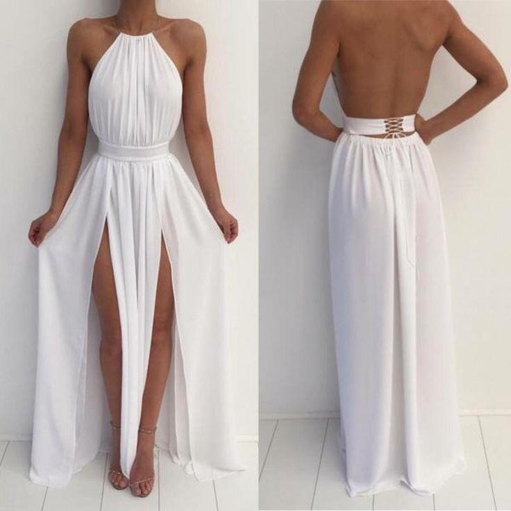 Düğün - White Halter Simple A-line Backless