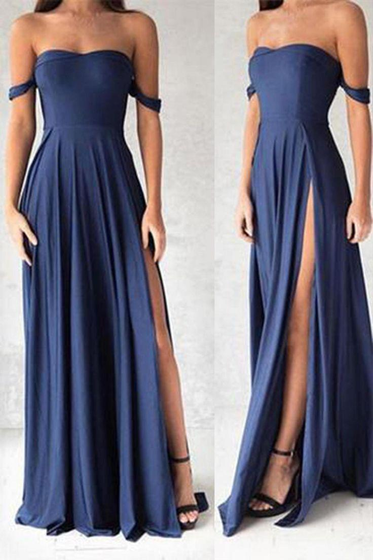 Düğün - Sexy Blue Chiffon Off-shoulder Swee