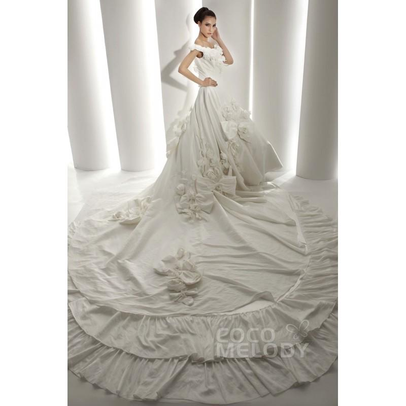 Mariage - Latest A-Line Off The Shoulder Cathedral Train Taffeta Wedding Dress CWJT1300A - Top Designer Wedding Online-Shop