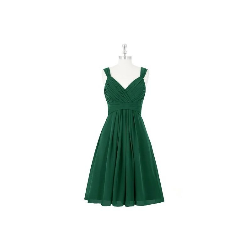 Hochzeit - Dark_green Azazie Clara - Knee Length Chiffon Back Zip V Neck Dress - Cheap Gorgeous Bridesmaids Store