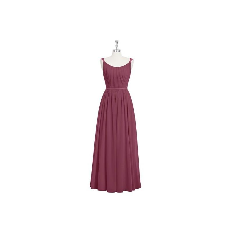 Boda - Mulberry Azazie Lanette - Strap Detail Floor Length Scoop Chiffon And Charmeuse Dress - Charming Bridesmaids Store