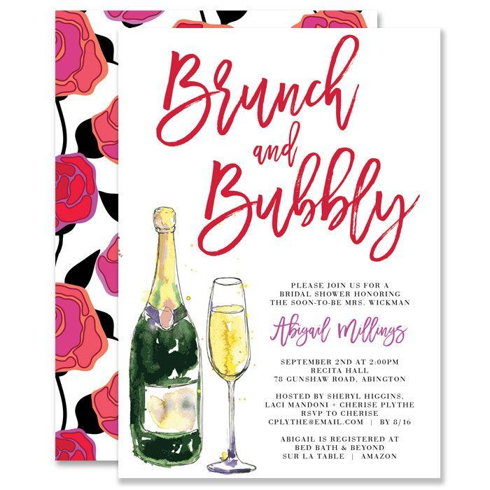 "Wedding - ""Abigail"" Bold Roses Brunch   Bubbly Bridal Shower Invitation"