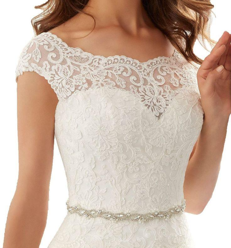 Hochzeit - Simple Long A-Line Cap Sleeve Train Lace Wedding Dresses Elegant Prom Dress From Lass