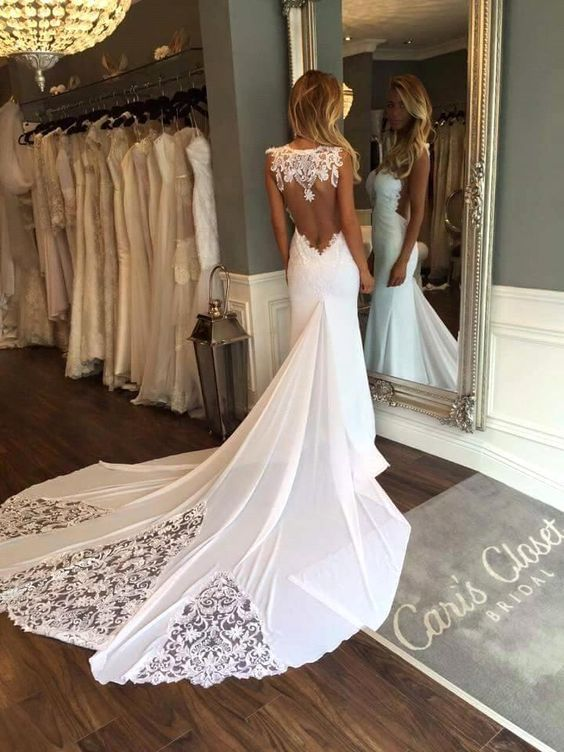 Düğün - Cheap 2017 New Sleeveless Mermaid Sheath Formal Wedding Dresses Backless Applique Lace Backless Bridal Gowns Custom Size As Low As $133.67, Also Buy Fit And Flare Wedding Dresses Lace Mermaid Dress From Dressave