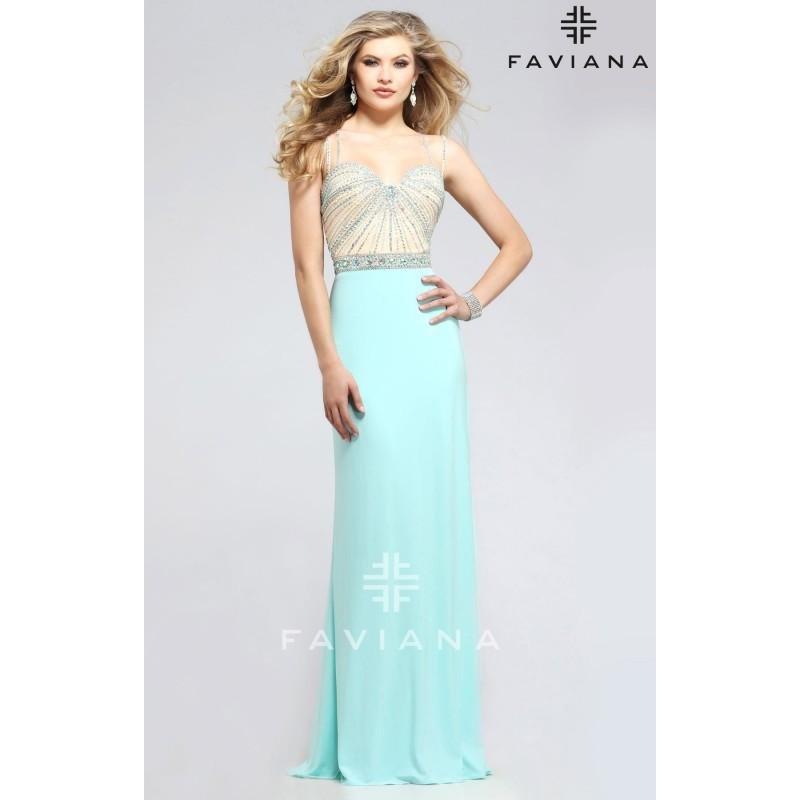 Boda - Navy/Nude Faviana 7782 - High Slit Jersey Knit Dress - Customize Your Prom Dress