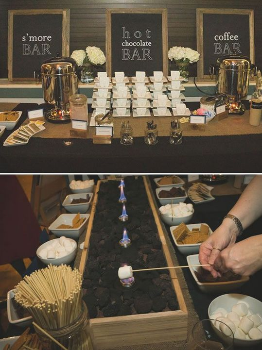 """Hochzeit - O Una Barra De """"s'mores"""" Con Café Y Chocolate Calientes, Para Calentar En Invierno:"""