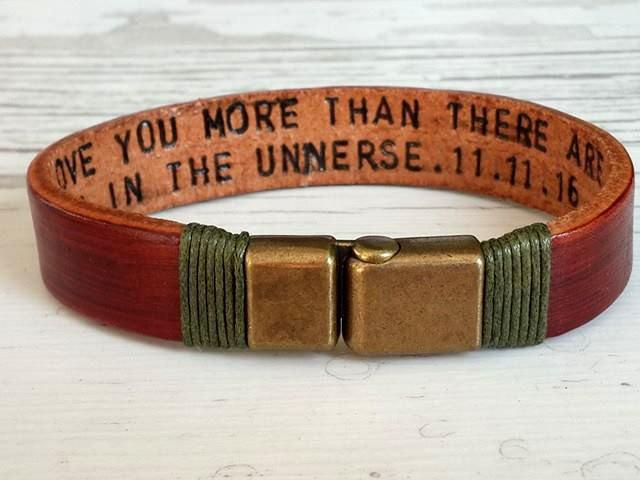 Hand Stamped Jewelry Personalized Leather Men Bracelet Women Hidden Message Secret Word Engraved