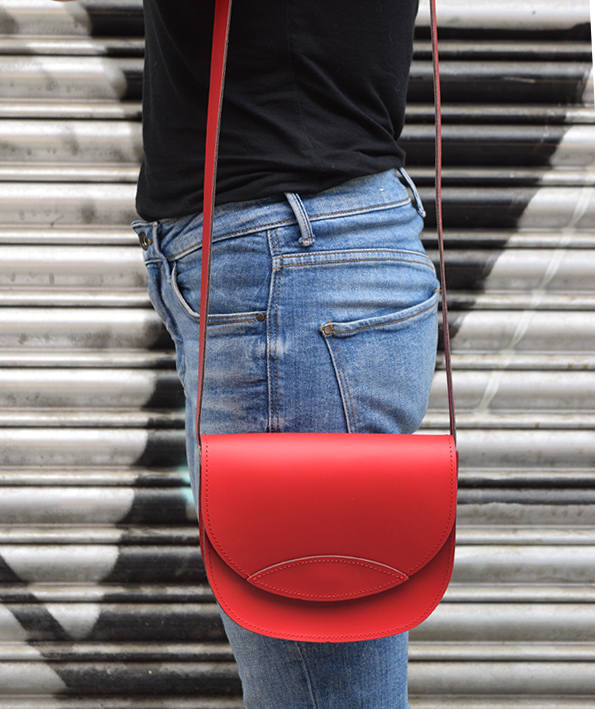 Boda - Red Leather Bag, Oval Leather Bag, Handmade Leather Bag, Leather Crossbody Bag, Leather Messenger Bag, Woman's Bag, Gift for Her