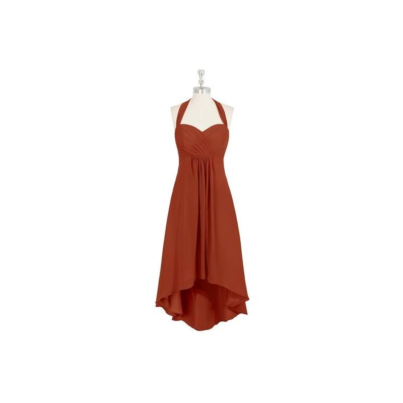 Wedding - Rust Azazie Annabel - Asymmetrical Chiffon Back Zip Halter Dress - Charming Bridesmaids Store
