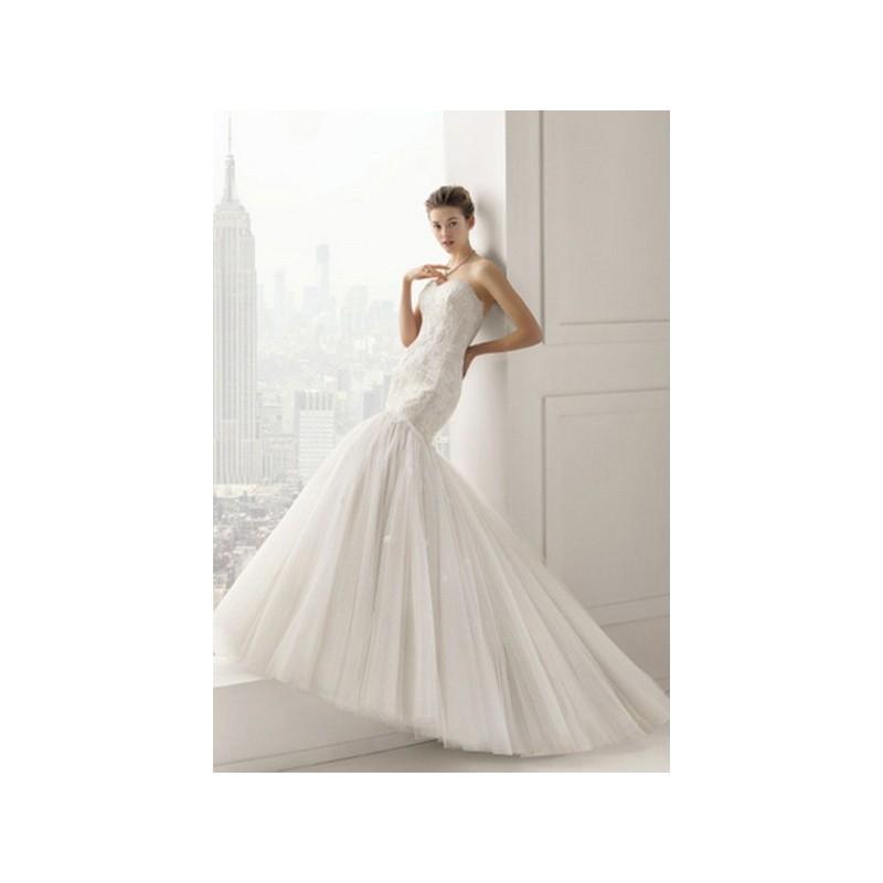 Hochzeit - Vestido de novia de Rosa Clará Modelo Sabor - 2015 Sirena Palabra de honor Vestido - Tienda nupcial con estilo del cordón