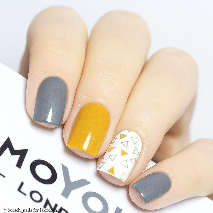 Mariage - Grey Yellow Nail Art