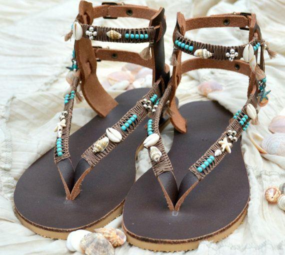 Hochzeit - SALE10% Boho Leather Sandals, Gladiator Sandals, Bohemian Sandals, Festival Sandals, Greek Sandals, Pom Pom Sandals, Summer Sandals