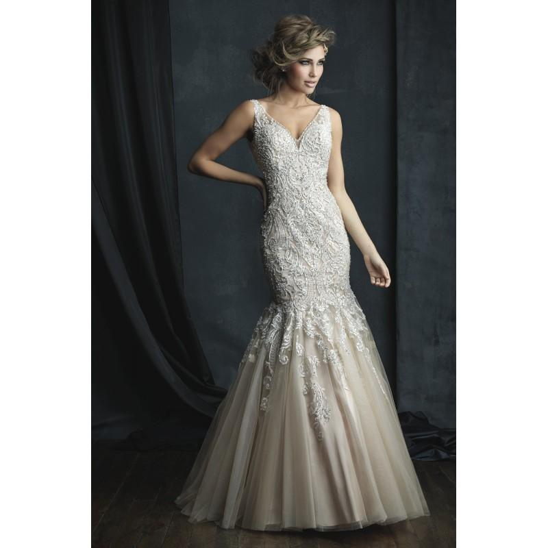 Hochzeit - Allure Couture Style C388 by Allure Couture - Ivory  White  Champagne Beaded  Tulle Low Back Floor V-Neck Wedding Dresses - Bridesmaid Dress Online Shop