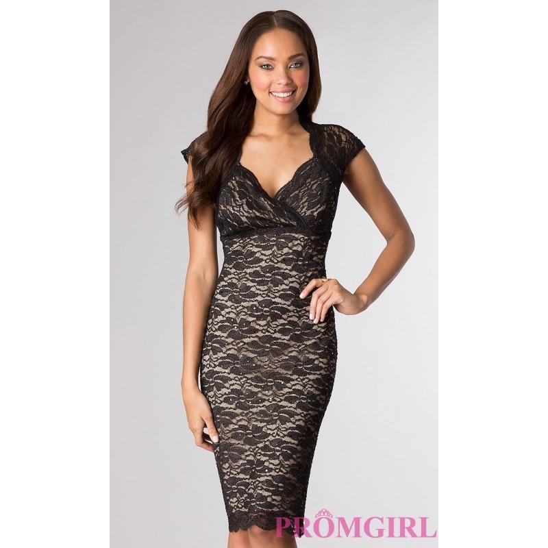Свадьба - Knee Length Lace Short Sleeve Dress - Brand Prom Dresses