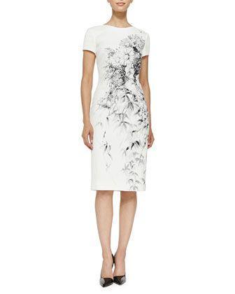 Wedding - Carolina Herrera Floral Pique Cotton Sheath Dress